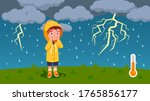 boy kid scared of thunder ... | Shutterstock .eps vector #1765856177