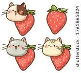 cartoon cute face cat with... | Shutterstock .eps vector #1765865324