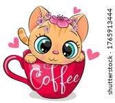 cute cartoon kitten with a...   Shutterstock .eps vector #1765913444