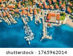 Aerial View Of Boats And Yacht...