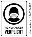 "mondmasker verplicht  ""wearing... | Shutterstock .eps vector #1765976987"
