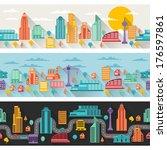 cityscape seamless horizontal... | Shutterstock .eps vector #176597861