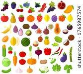 flat design fresh raw fruits... | Shutterstock .eps vector #1765987574