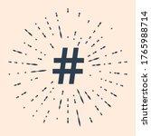 black hashtag icon isolated on...