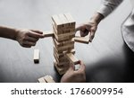 Small photo of Planning to reduce investment risks, plan and strategy in business, Establishing a business risk mitigation plan to create stability for the company, Business growth with wooden blocks concept.