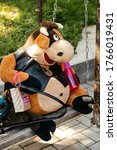 Soft Toy Brown Fat Cow Sits A...