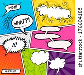 Bright Comic book Elements with speech bubbles - vector illustration. | Shutterstock vector #176604185