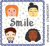 set of doodle happy different... | Shutterstock .eps vector #1766052497