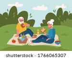 retired couple having picnic... | Shutterstock .eps vector #1766065307