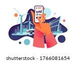 hands holding mobile cell phone ... | Shutterstock .eps vector #1766081654