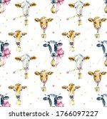 Seamless Pattern With Cow....