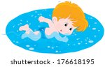 boy swimming | Shutterstock .eps vector #176618195