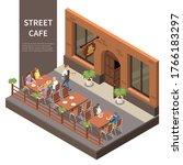 street cafe terrace isometric... | Shutterstock .eps vector #1766183297
