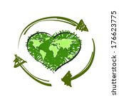 green map world in shape of... | Shutterstock . vector #176623775