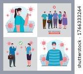set scenes of distancing social ...   Shutterstock .eps vector #1766333264