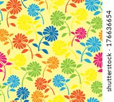 colorful wild flowers seamless...   Shutterstock . vector #176636654