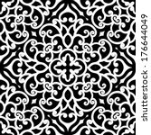 black and white swirly ornament ... | Shutterstock .eps vector #176644049