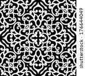 black and white swirly ornament ... | Shutterstock .eps vector #176644049