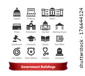 government buildings icon set.... | Shutterstock .eps vector #176644124