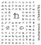 vector black construction icons ... | Shutterstock .eps vector #176644781