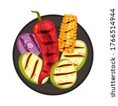 grilled food with vegetable... | Shutterstock .eps vector #1766514944