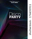 retro disco party flyer... | Shutterstock .eps vector #176653511