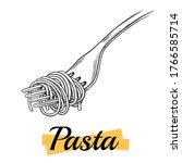 italian pasta. spaghetti on a...   Shutterstock .eps vector #1766585714