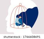 transgender woman locked in a...   Shutterstock .eps vector #1766608691