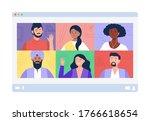 people meeting online in the... | Shutterstock .eps vector #1766618654