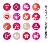 web icon set   valentine's day. ... | Shutterstock .eps vector #176666081