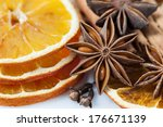 sliced dried orange with  anise ... | Shutterstock . vector #176671139