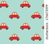 seamless cute car pattern | Shutterstock .eps vector #176673599