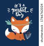 Embroidery Cute Fox Vector...