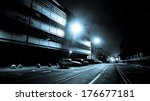 Dark Creepy Street at Night - stock photo