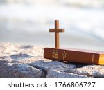 Bible And Wood Holy Cross With...