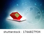 3d render sim on a mobile | Shutterstock . vector #1766827934