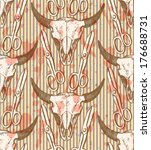 bison skull and scissors ... | Shutterstock .eps vector #176688731