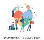 stylized volunteers help... | Shutterstock .eps vector #1766931404