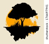 Tree Silhouette With Grass And  ...