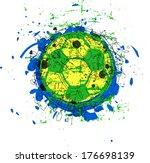 grungy soccer   football ball ...
