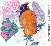vector illustration with a bird ... | Shutterstock .eps vector #176705447