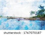 Abstract Painting Of Lake And...