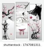 toro's stone lantern  sakura...   Shutterstock .eps vector #1767081311