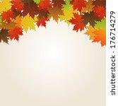 autumn leaves over paper... | Shutterstock .eps vector #176714279