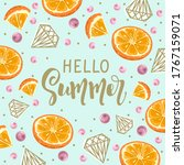 postcard with fresh orange ...   Shutterstock .eps vector #1767159071