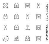 happy halloween line icons set  ... | Shutterstock .eps vector #1767188687