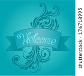 blue welcome card template with ... | Shutterstock .eps vector #176718995
