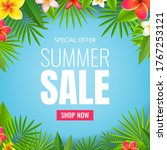 sale poster and tropical leaves ...   Shutterstock .eps vector #1767253121