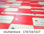 Flag of Austria on plastic bank cards. National banking related 3D rendering