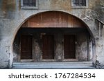Old Entrance of one building in the village of Serravalle, Vittorio Veneto, Italy